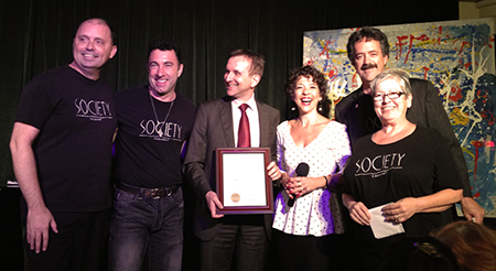 Cabaret Comico , Society Cabaret and the Italian Community garner a special commendation from the City of San Francisco. With Italian Consul Dottor Mauro Battocchi.
