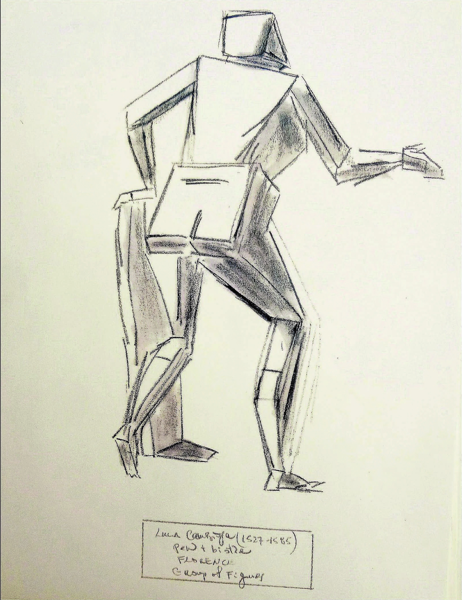 "After Luca Cambiaso ""Geometric Man"" 1527-1585 , N/A  Drawings on paper  15 × 12 in   Inquire"