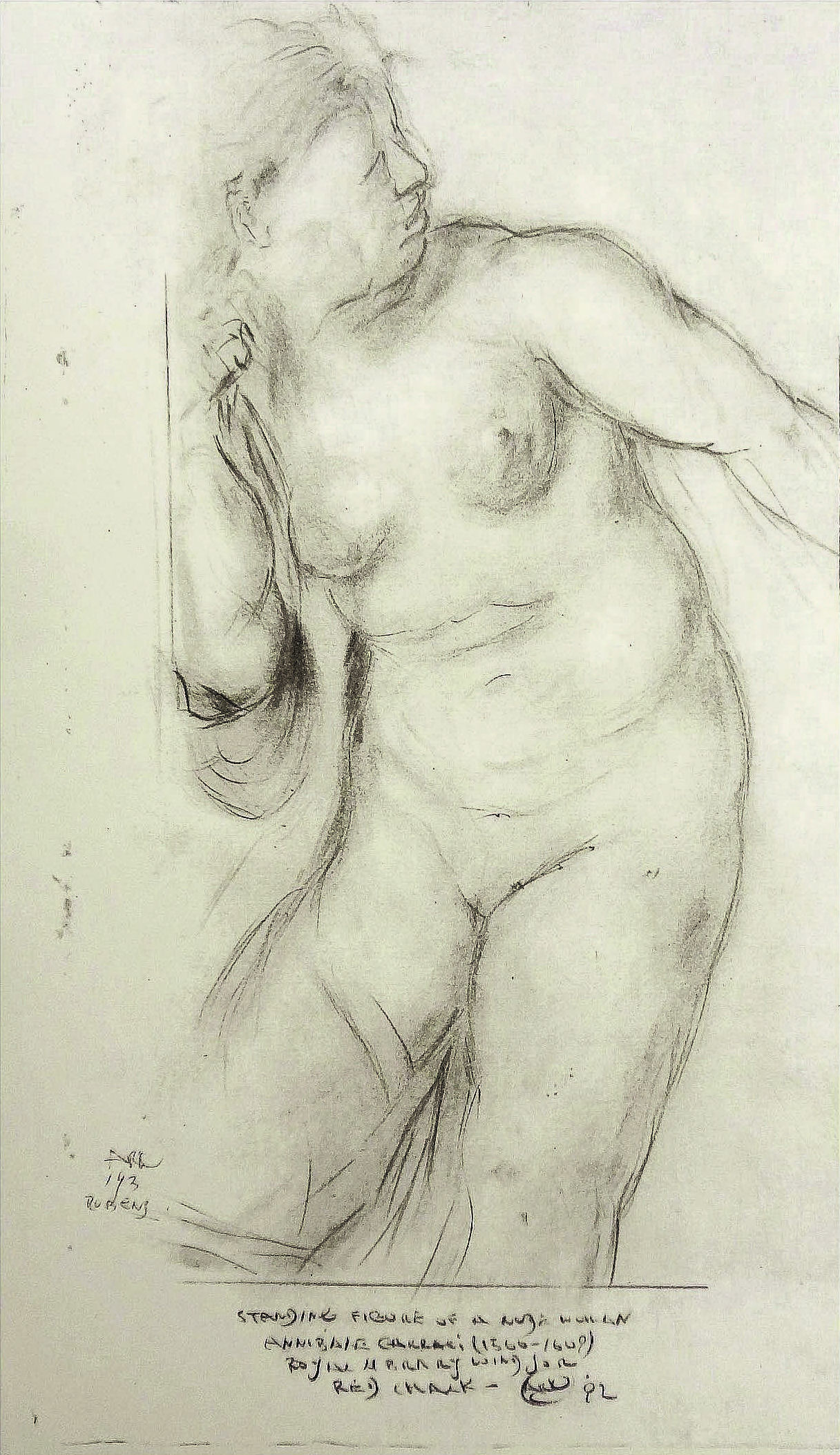 after Annibale Carracci (1560-1609) c.1600 - Nude Woman , 1992  Pencil on paper  15 1/4 × 5 in   Inquire