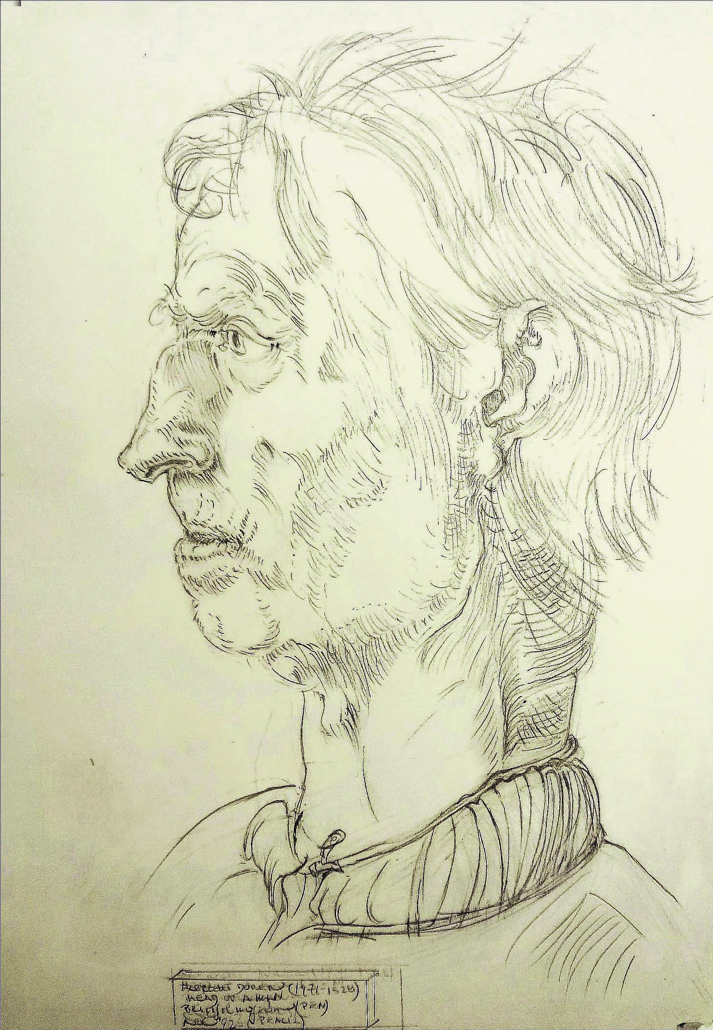 After Albrecht Dürer (1471-1528) - Head of a Man , 1992  Pencil on paper  15 1/4 × 13 1/4 in   Inquire