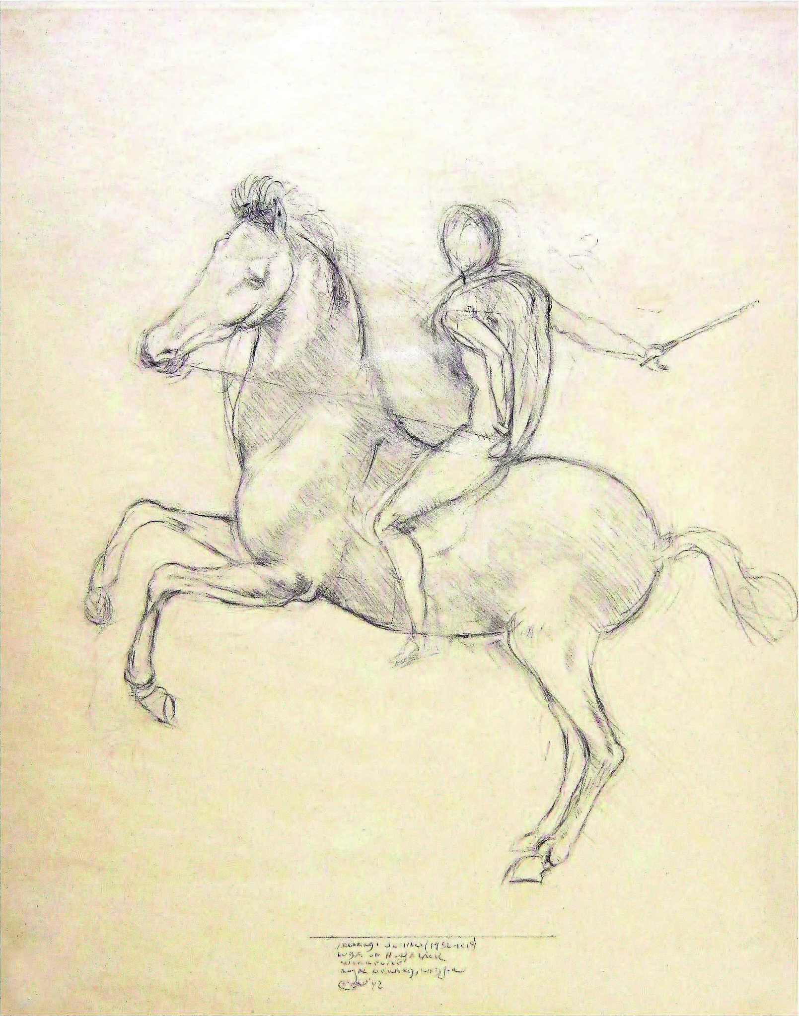 """Equestrian Warrior II"" after da Vinci (1452-1519) , 1992  Pencil on paper  13 1/2 × 10 in   Inquire"