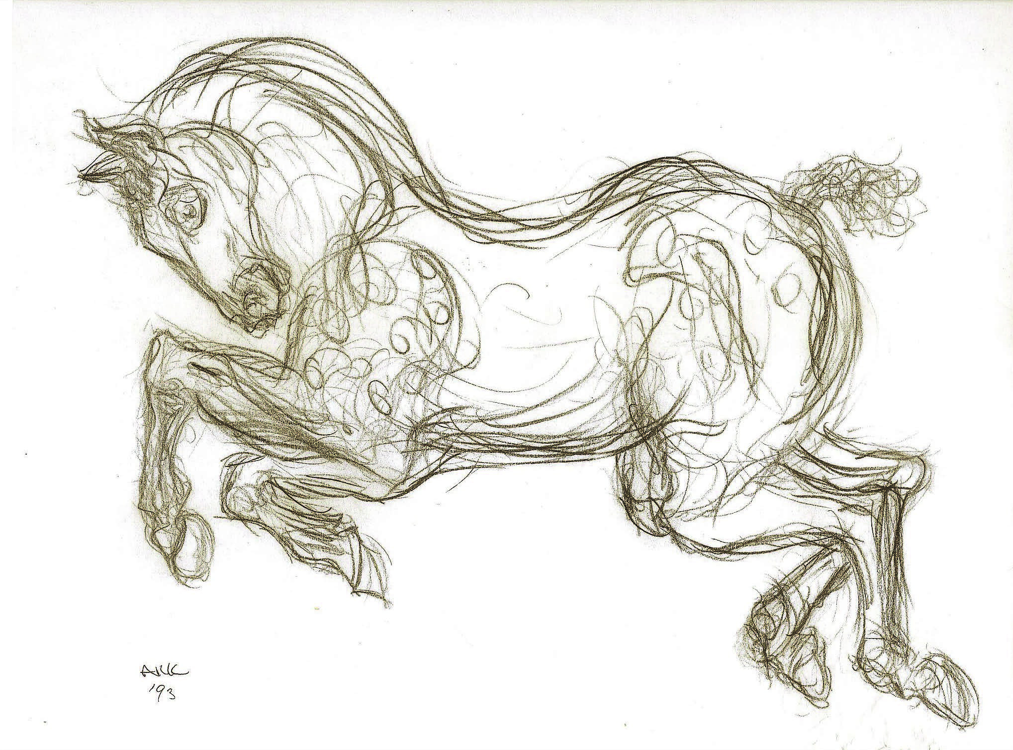 """Circus Horse"" - after Porcelain Sculpture  , 1993  Pencil on paper  18 × 22 3/4 in   Inquire"
