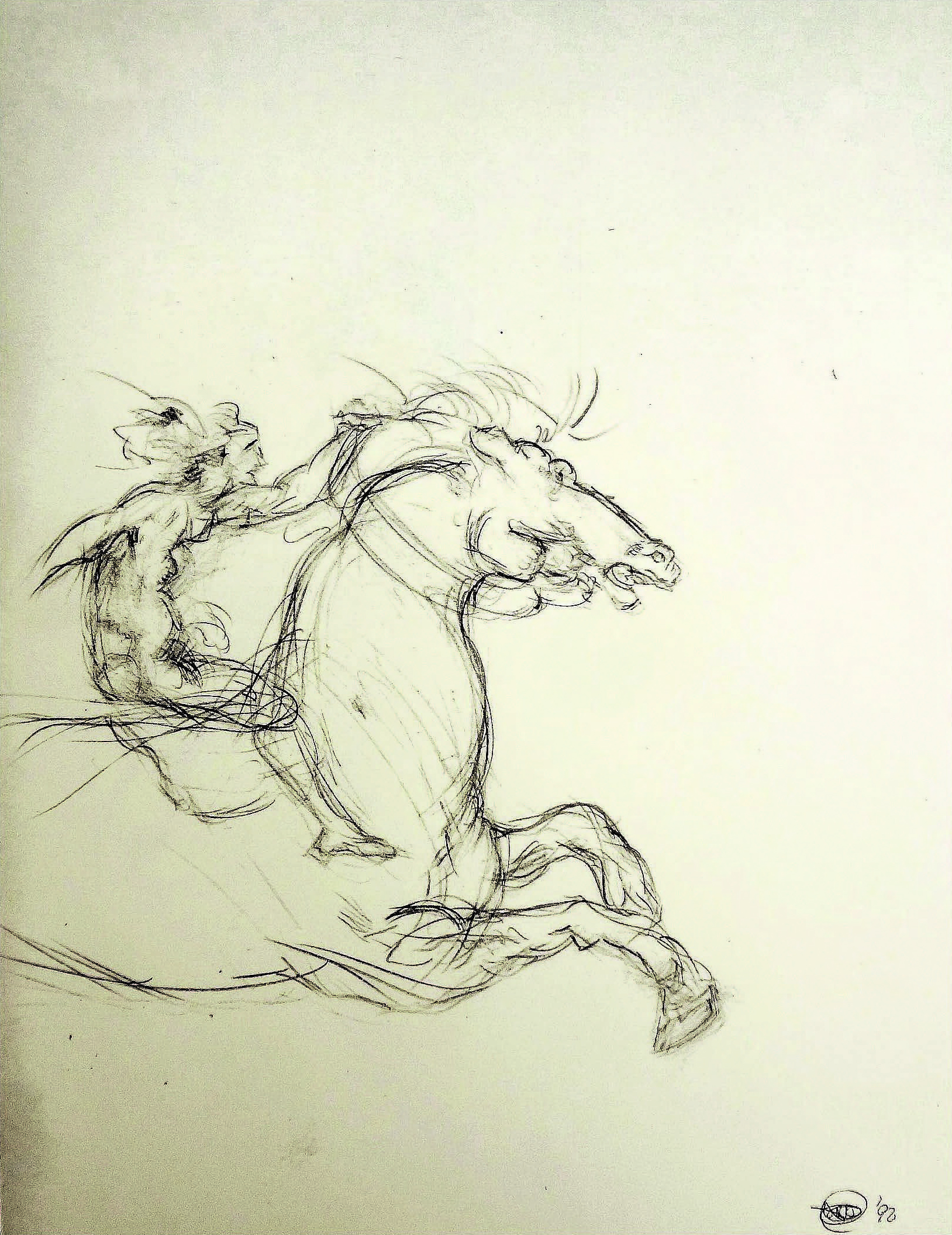 After daVinci - The Equestrian Warrior (1452-1510 ) , 1992  Pencil on paper  11 × 13 1/2 in   Inquire