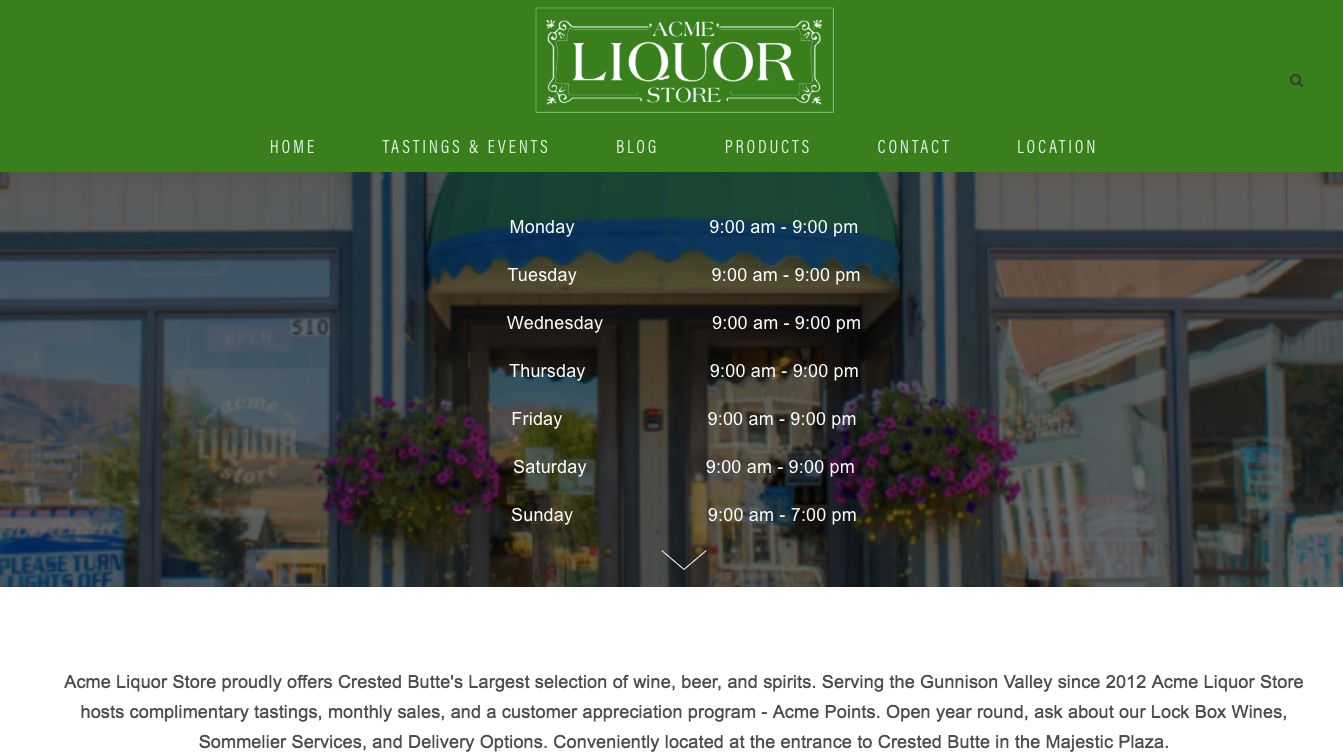 Acme Liquor Store - Ease of maintenance and basic updates on a website is a HUGE reason clients choose 2 Sense Social and Squarespace. Pete wanted to be able to create his own blog posts, update hours, and share events easily. Integrating his social media platforms and Vindaq (an online wine cellar) were also priorities. We'd love to know if you like his new site as much as we do!