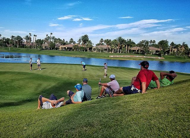 Best part of a golf weekend with the guys is heckling the last group on the final green. #Golf  #PalmSprings  #PlayingThrough