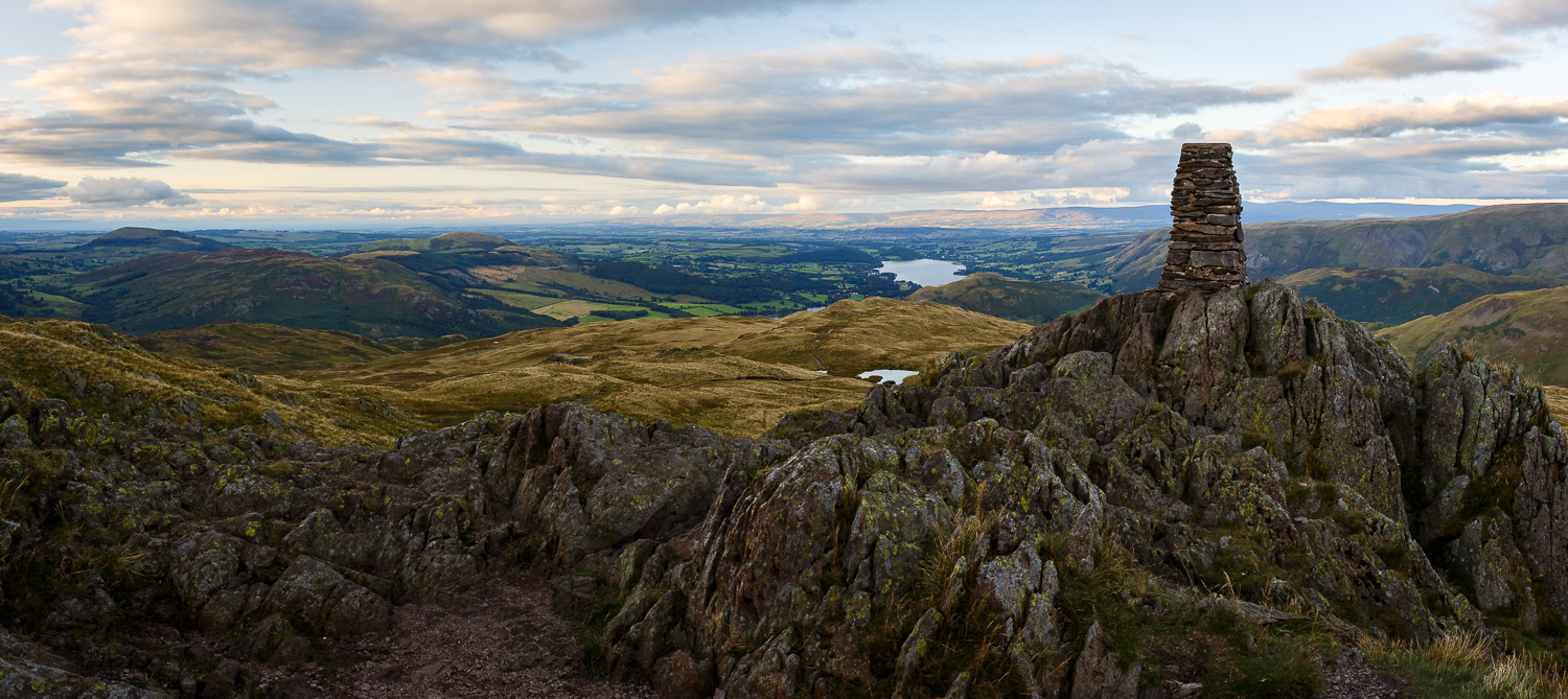 3 shot Panorama looking north east out towards the top end of Ullswater. Canon 6d, Canon 24-70mm f/4L IS USM @24mm, f/11, ISO 100, 1/4s, CPL.