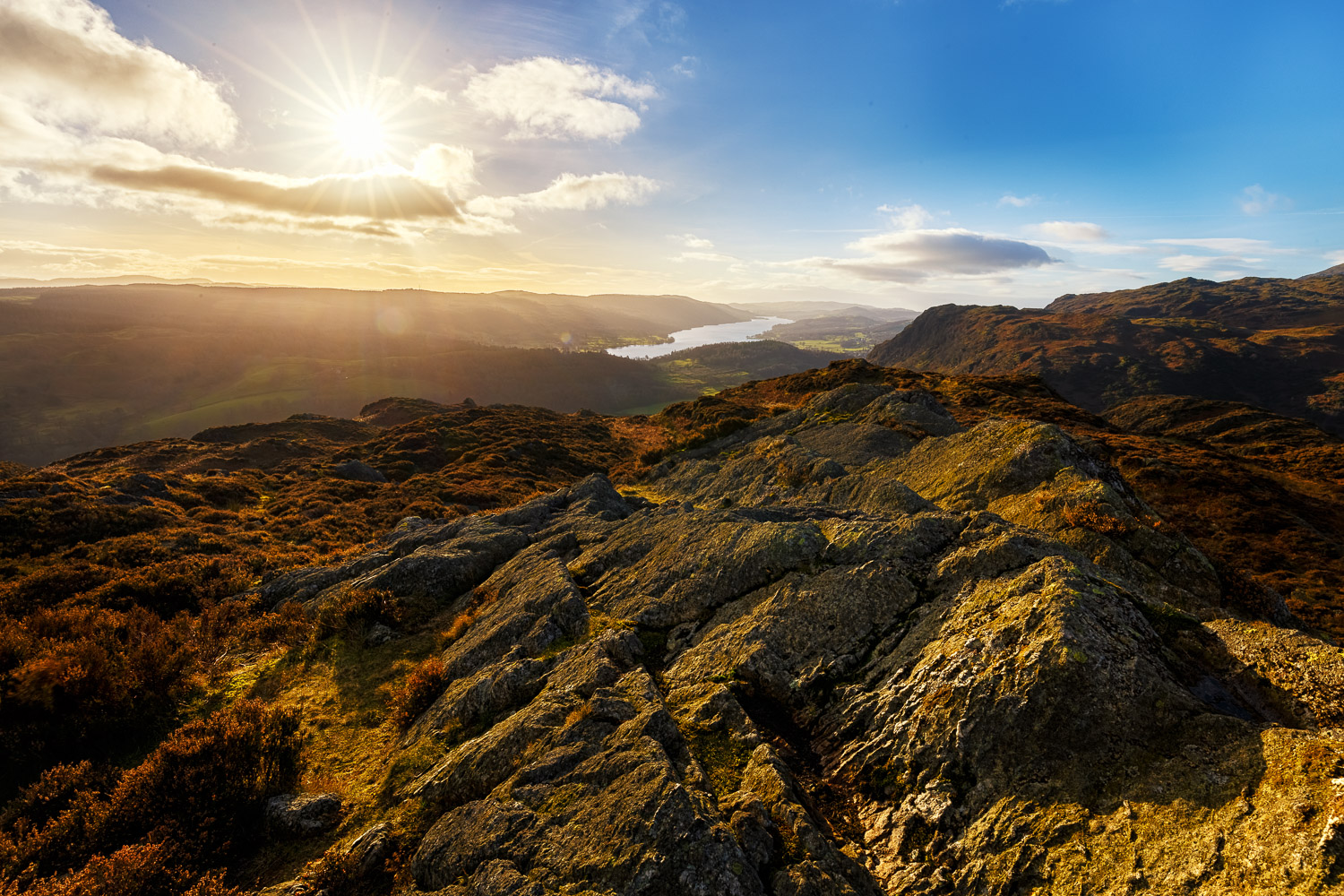 Looking over Coniston Water from the top of Holme Fell.  Canon 6D  , Canon 16-35mm f/4L IS USM @16mm, f/11, ISO 100, 1/1000s, CPL.