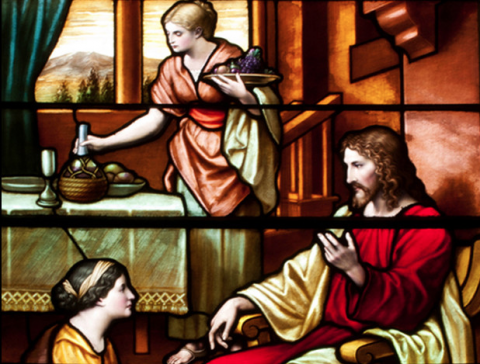 Jesus at the home of Mary and Martha