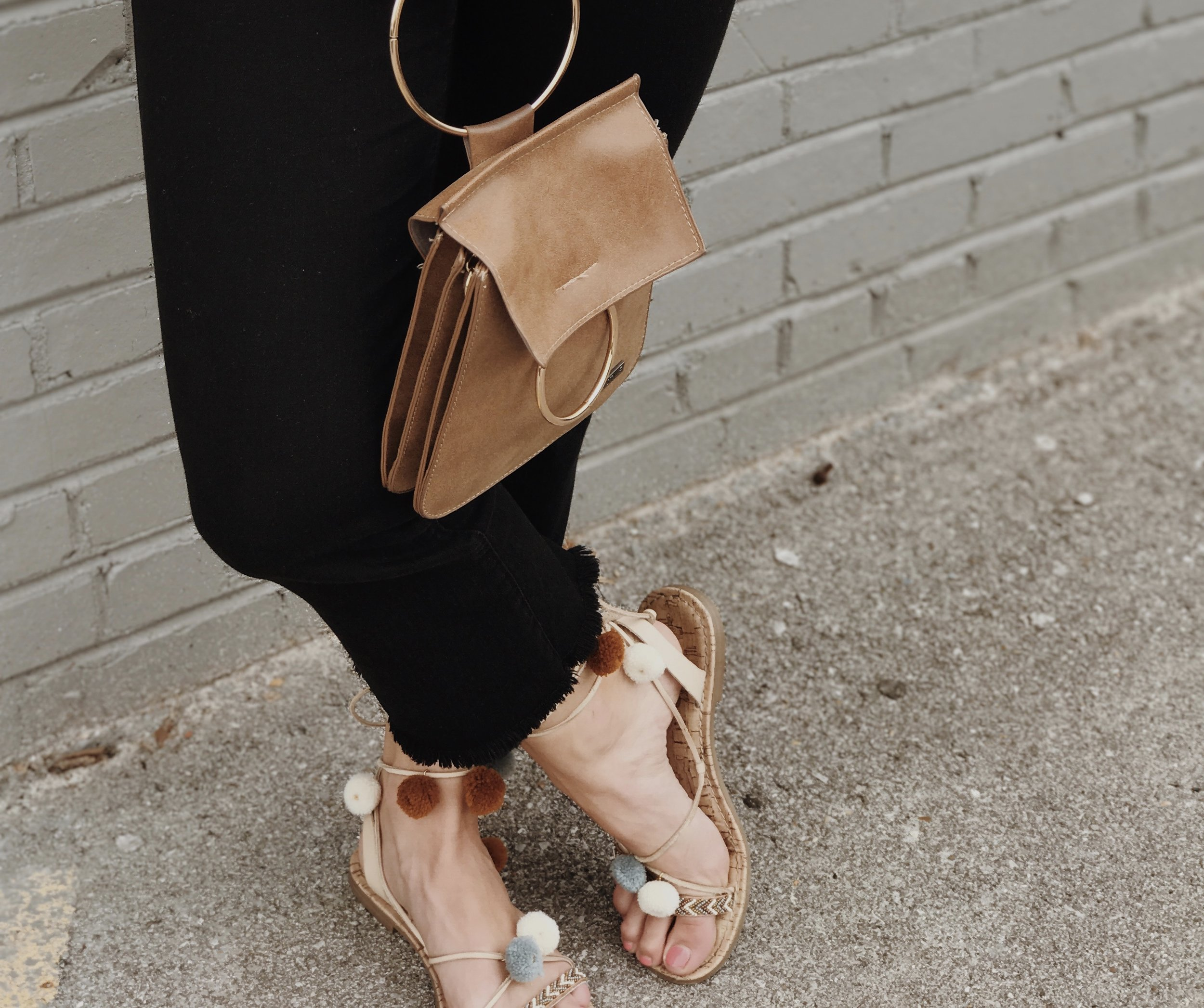 details... - its all in the details. these fun wrap sandals and gold ring mini bag compliment this look so well.