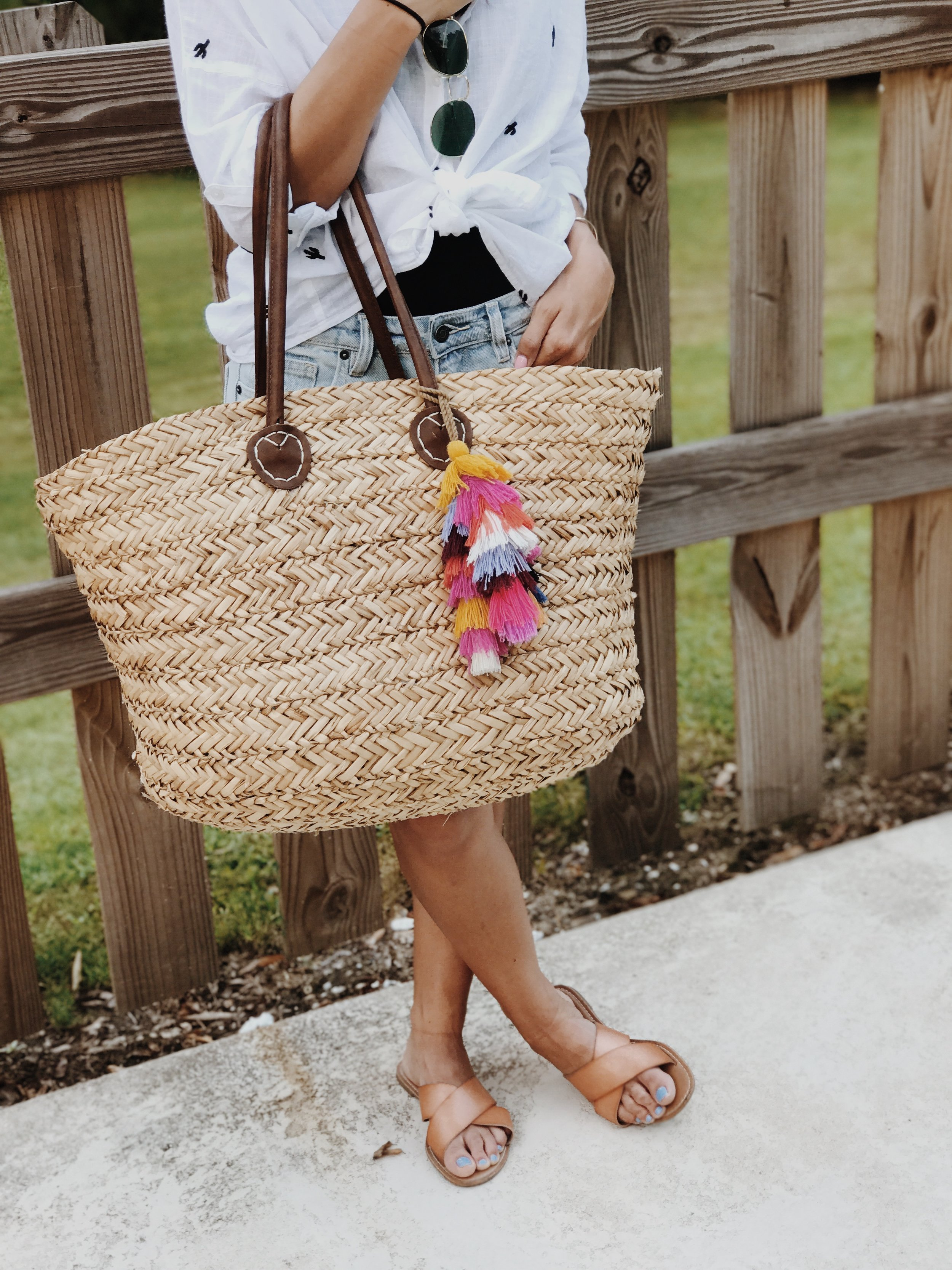 Tassel beach tote - I scored this tote from Target, and it has plenty of room for anything you could ever need!