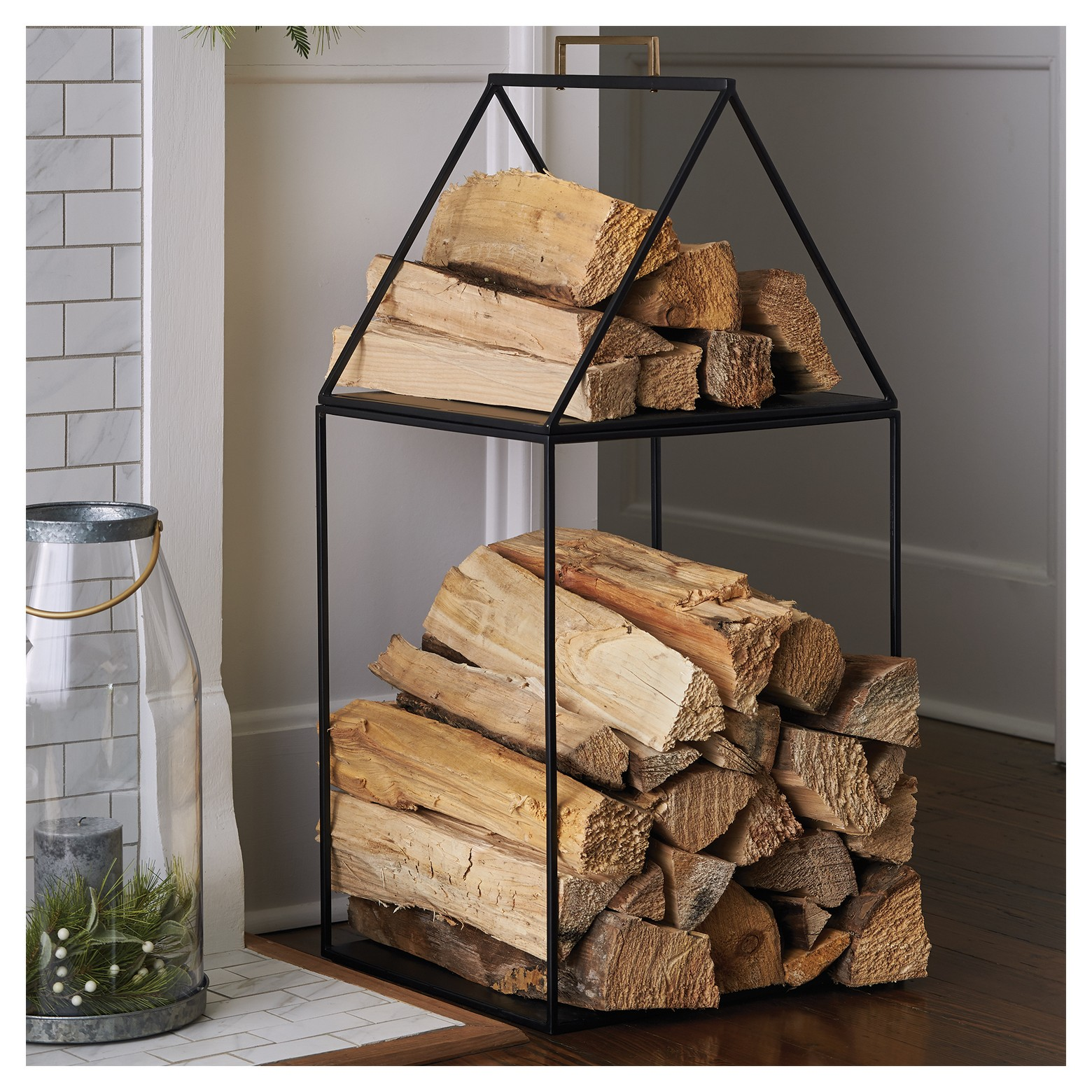 Log holder  - This log holder is the perfect piece to keep your fireplace neat but still incredibly cozy. I love the functionality of having the firewood right where you need it, without all of the mess.