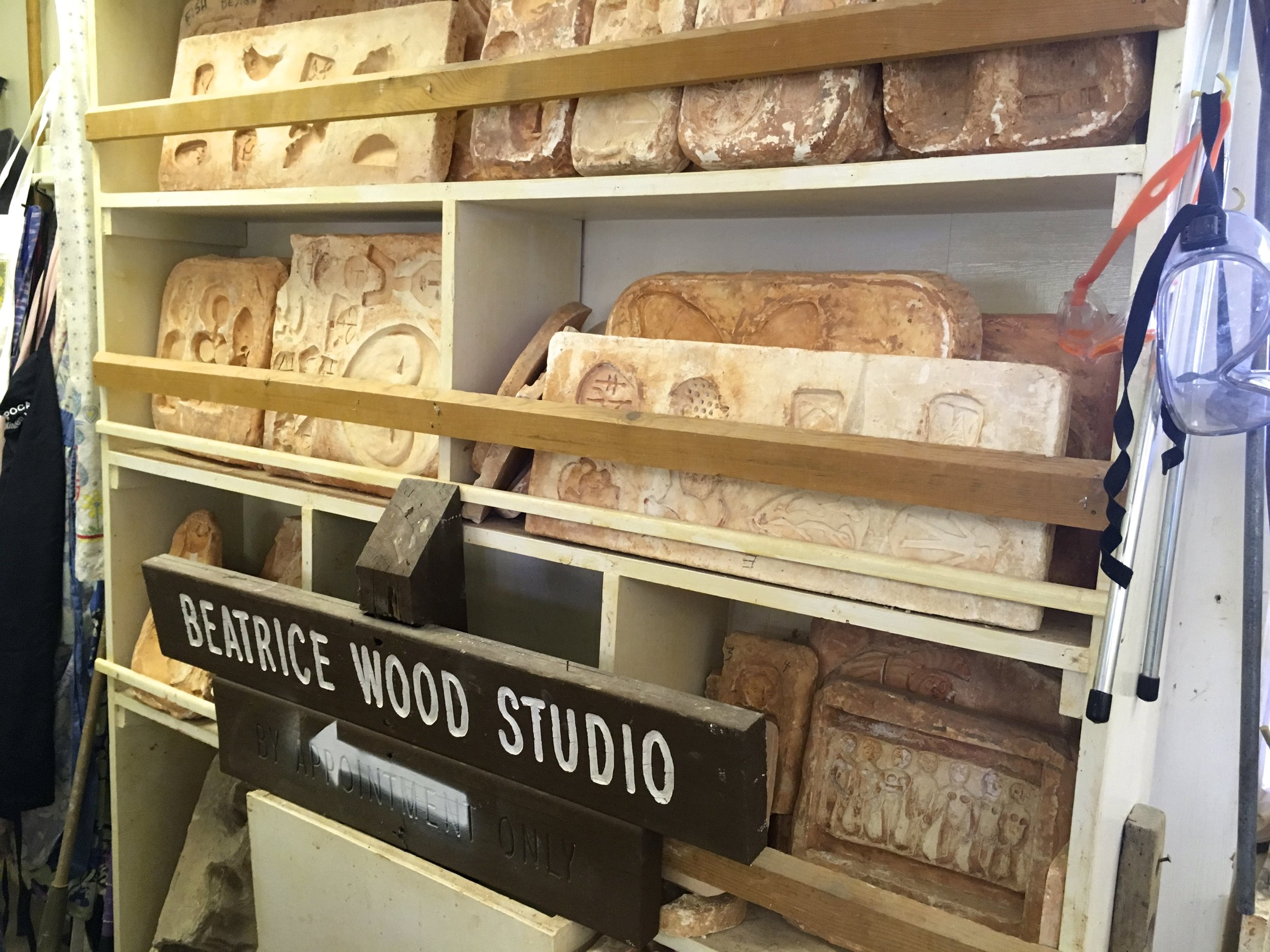 These are Beatrice Wood's molds and aprons that she used.  This is a living museum! -