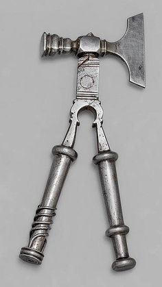 - Description: France, 18th c. Wrought iron. Consisting of hammer, hatchet, a pair of pliers, screw driver, awl and 2 further turn screws hidden in the handle ends. 15 cm. Photo Credit: http://pinquity.net