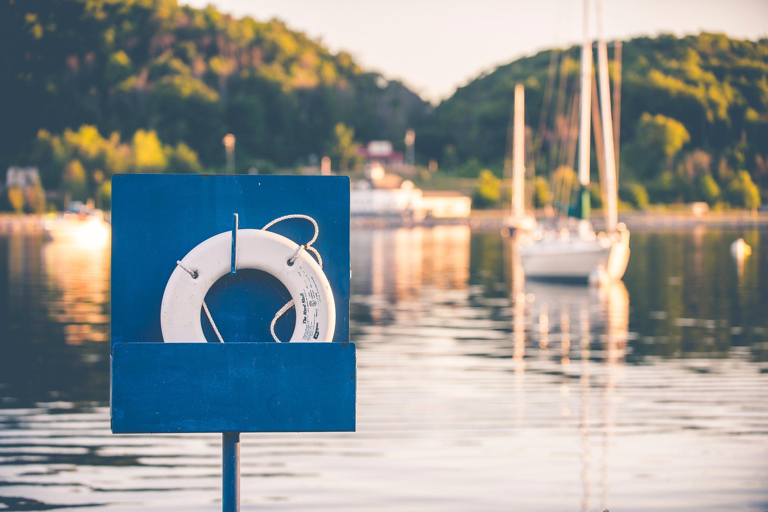 Lifesaver symbolic of business relationship drowning