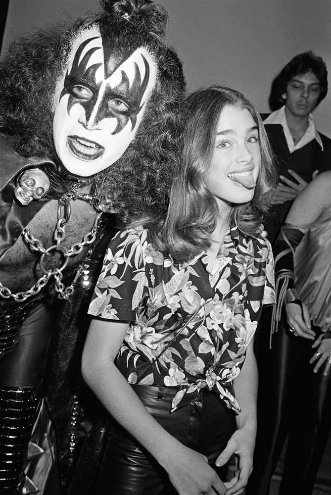 Brooke Shields Sticks Out Her Tongue in Beverly Hills, 1978 - I was a bit horrified when thirteen year old Brook Shields stuck out her tongue next to Gene from KISS at the Fiorucci Blondie party.