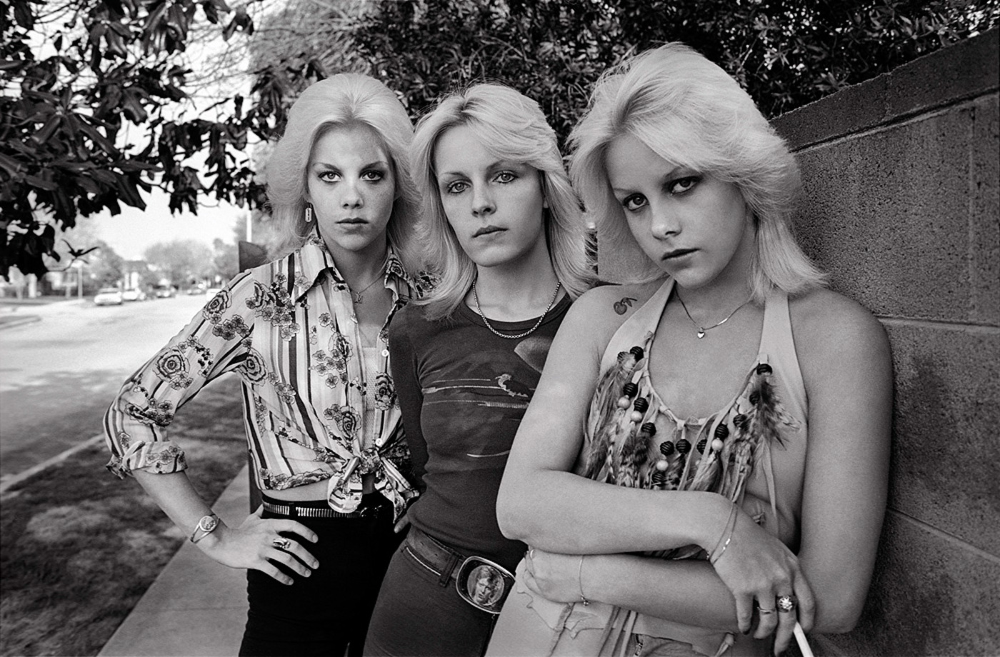 The Valley Chicks, 1978 - I drove out to the San Fernando Valley to make some photos of Cherie Currie for The Runaways record company. When I got to her home, there was her twin sister Marie and Vicki Razor Blade from the band Venus And The Razor Blades. History was made!