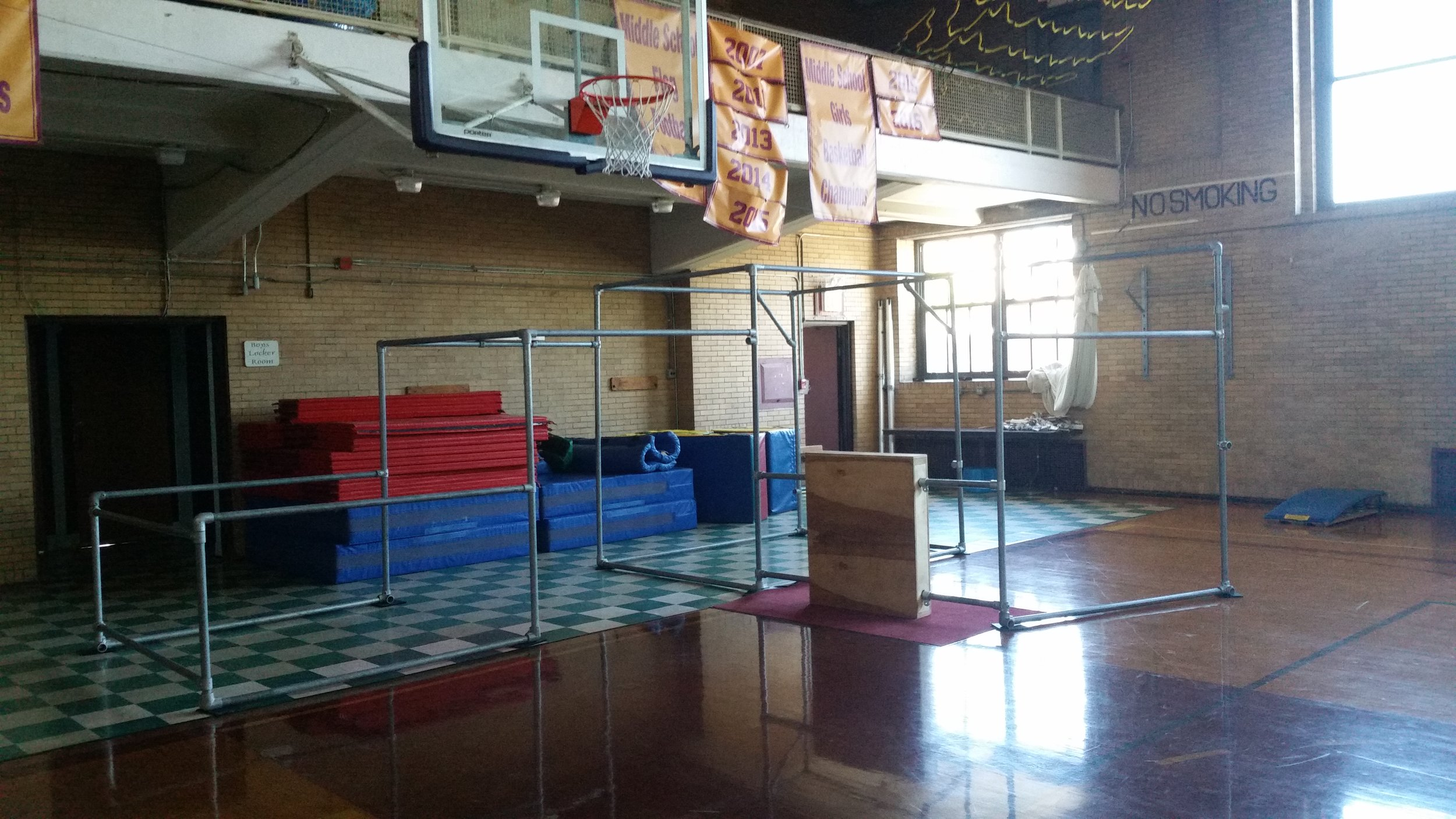 One of our temporary setups at Chicago Waldorf School. CWS has Parkour as a real class at their school, all year round! All the high school students take it and many of the middle school and grade school classes get to experience it once in a while, too.