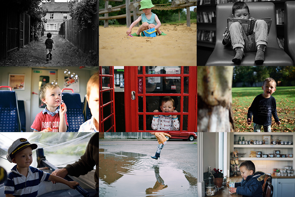 Childhood photo collage by Cambridge family storytelling photographer Diana Hagues