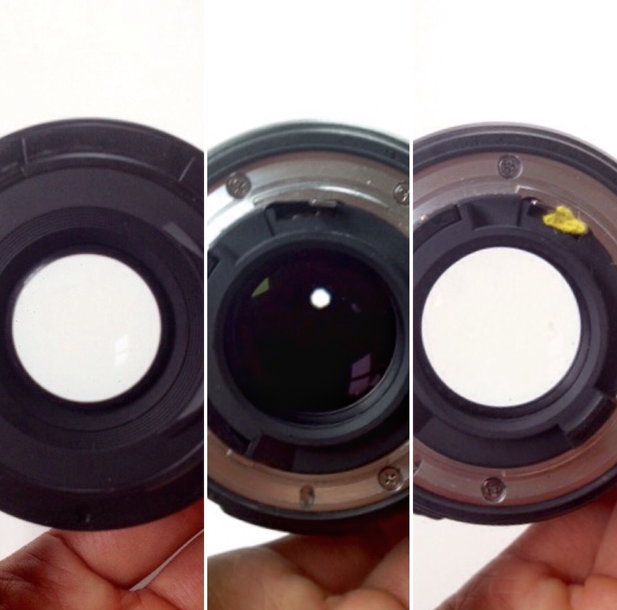 How to keep the aperture open for freelensing? On the left, aperture is open on a Canon 50mm lens compared with the Nikon AF lens (middle picture). On the right, a slip of paper used to keep the aperture open on the Nikon lens. Copyright Diana Hagues Photography.