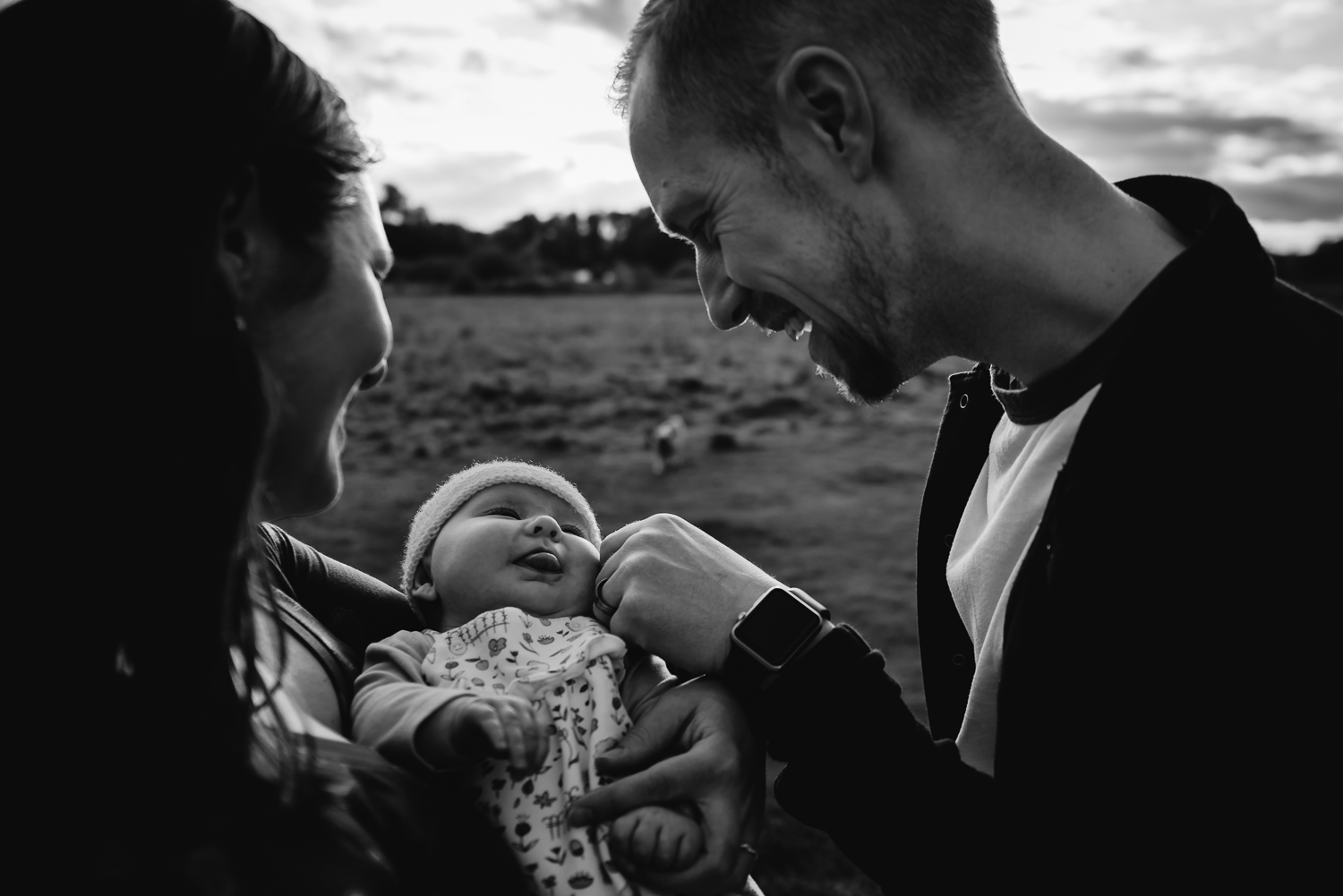 Cambridge photographer Black and white baby photography outdoor family shoot