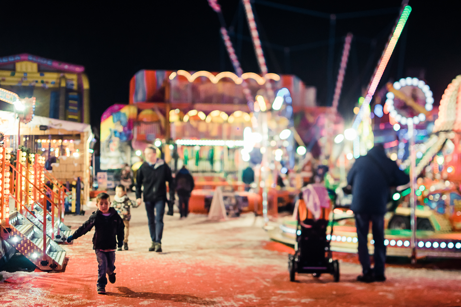 Bright lights at the North Pole fun fair Cambridge 2018