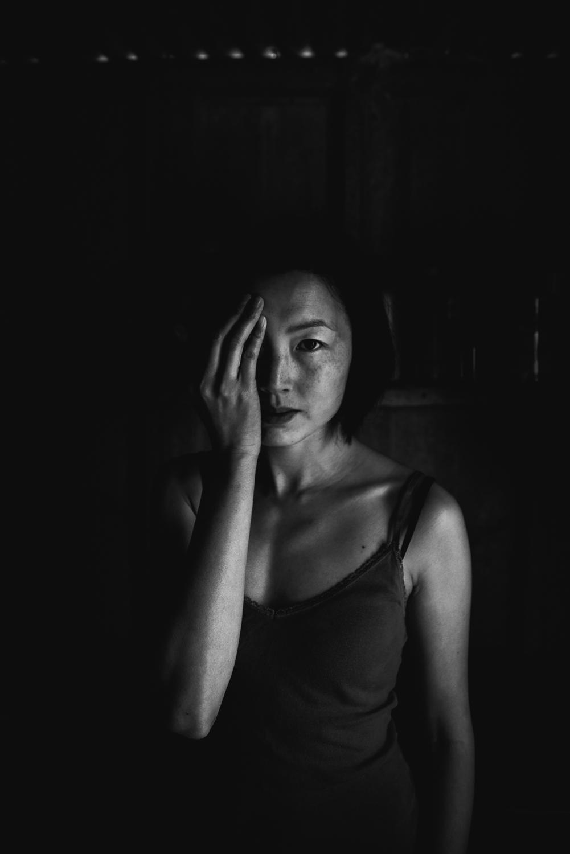 Intentional gaze black and white self-portraiture Diana Hagues Photograher, Cambridgeshire, U.K.