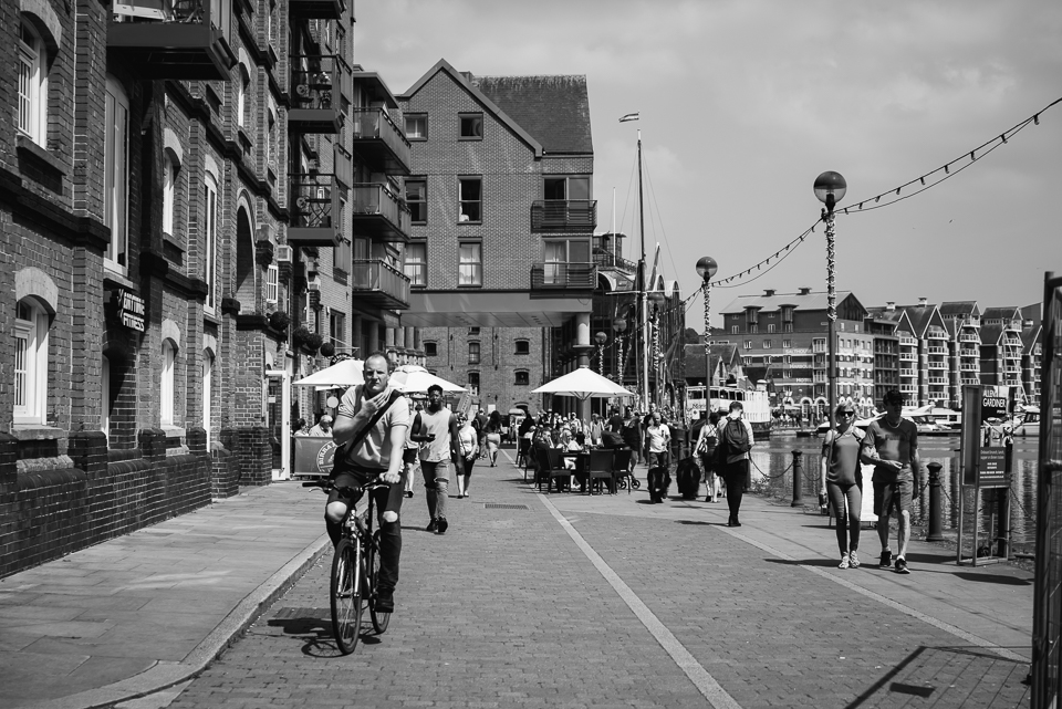 Ipswich waterfront black and white photograph