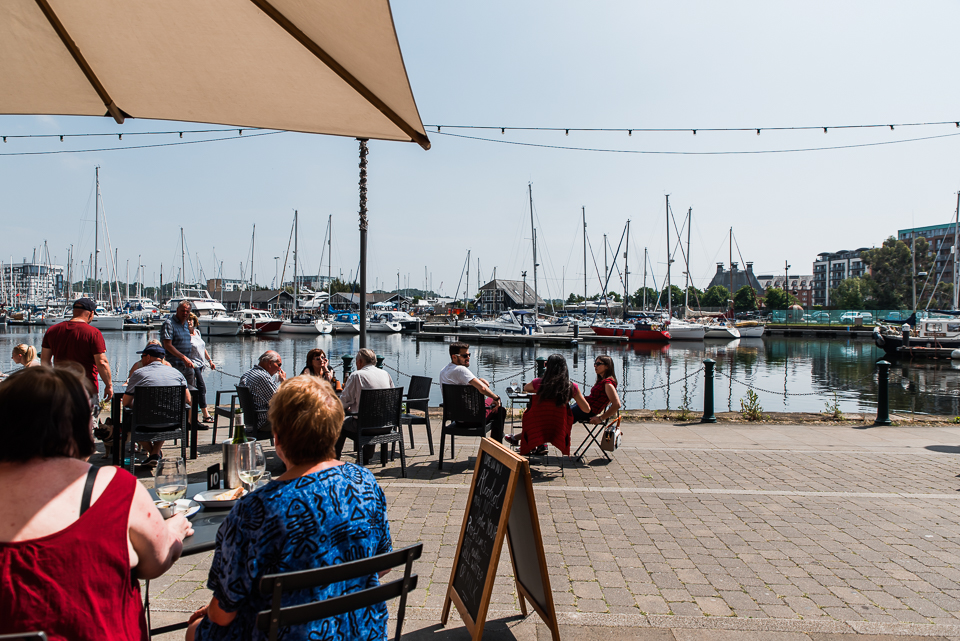 Cafe culture on Ipswich waterfront