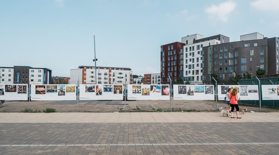 Photography hoardings on Ipswich waterfront, Photoeast UK