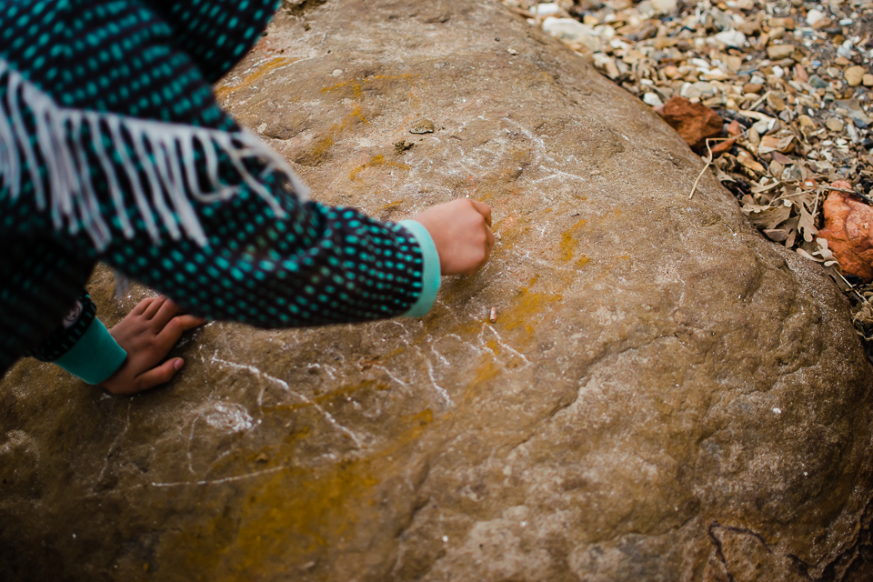 Chalk writing on the rocks at the beach