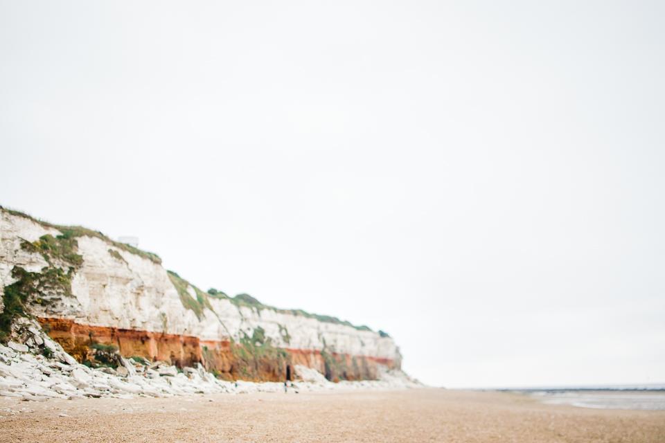 Freelensed photo of the sandstone cliffs at Hunstanton beach