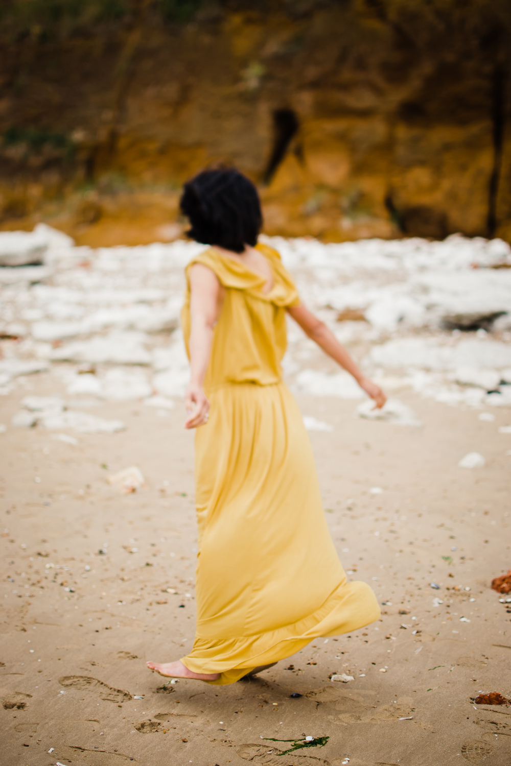 British Travelling dress project - artist Diana Hagues in yellow