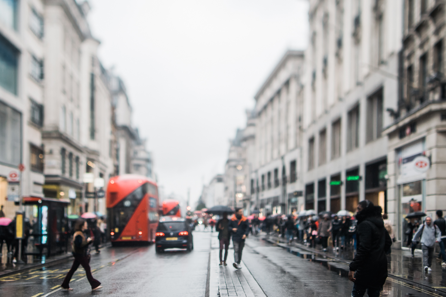 Freelensed photograph of London Oxford Circus in the rain