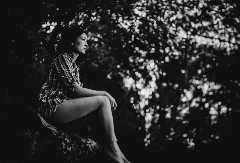 Self-portrait freelensed black and white photograph