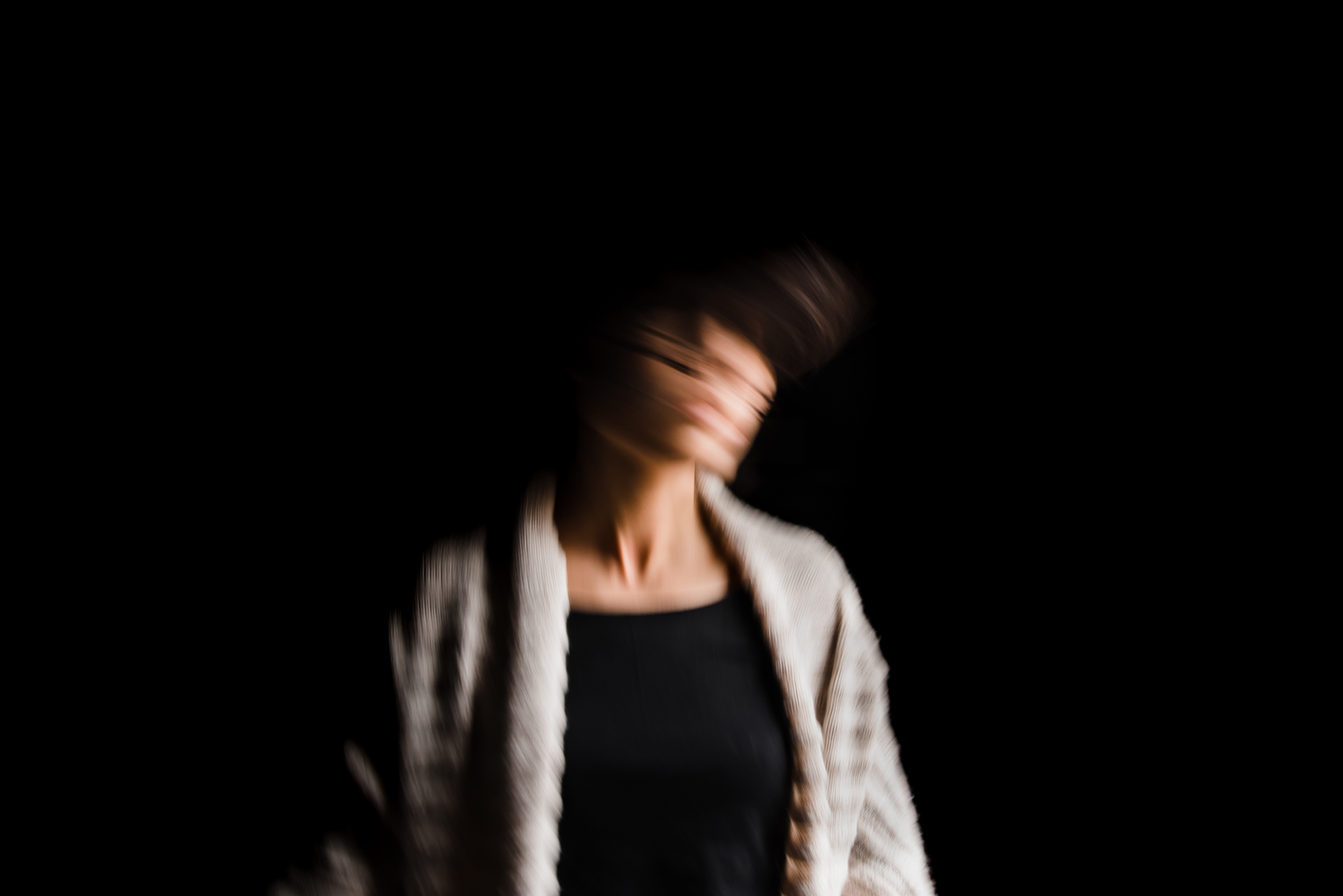 Self portrait taken with a slow shutter speed in natural light