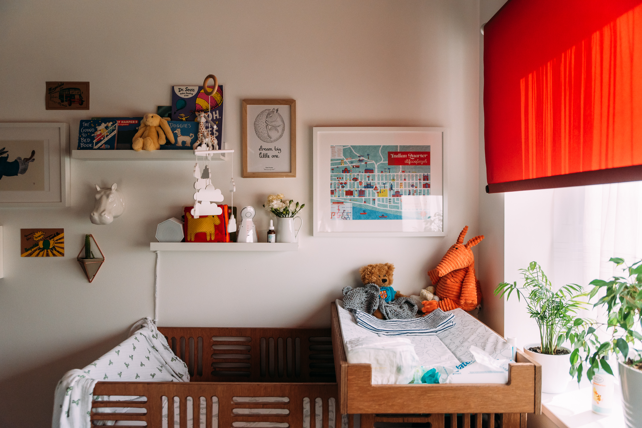 Nursery details during a newborn photo session in Cambridge, UK