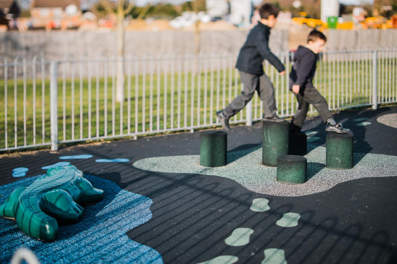 Two children in the playground, Huntingdon, Cambridgeshire