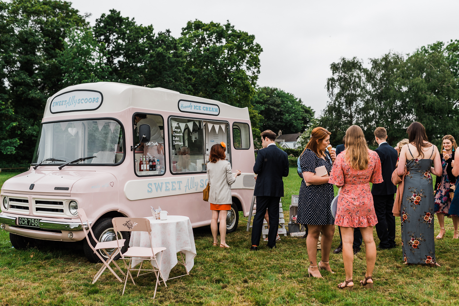 Wedding guests queuing up for ice-cream at SweetAllyscoops