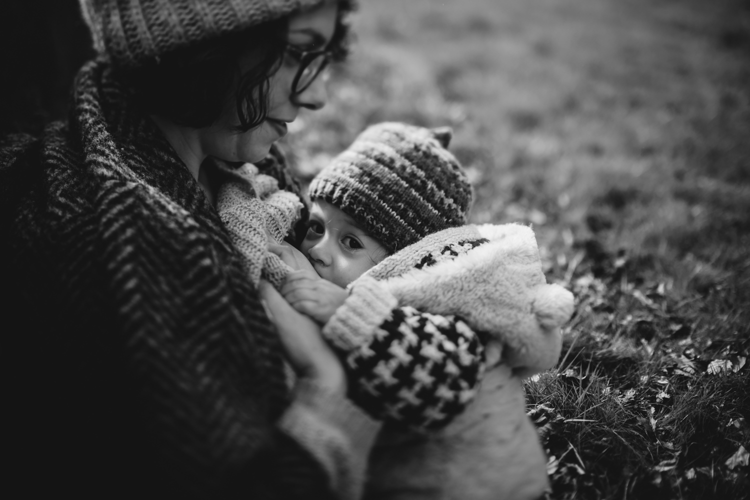 Copy of Black and white breastfeeding photograph freelensed