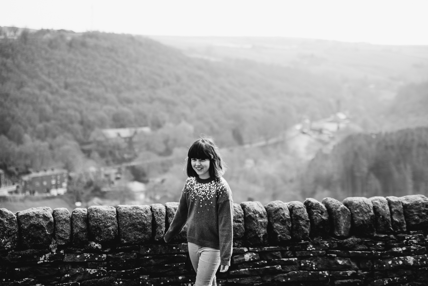 Black and white photograph of a girl taken at Cragg Vale, West Y