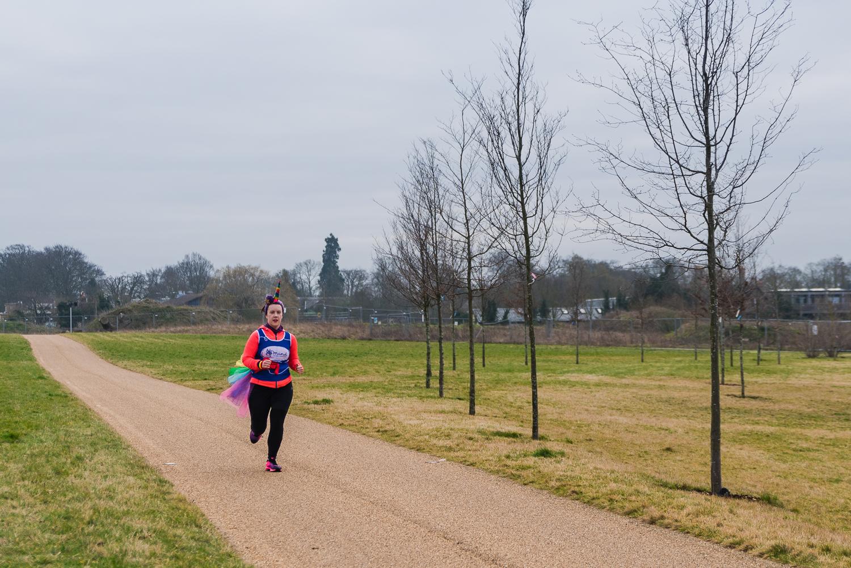 Unicorn runner, Katt Gubb, runs around the park to raise money f