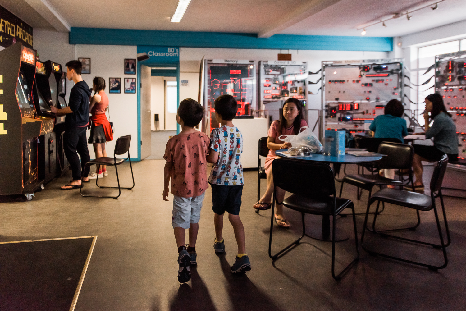 Two children walking into the Museum of Computing History in Cambridge