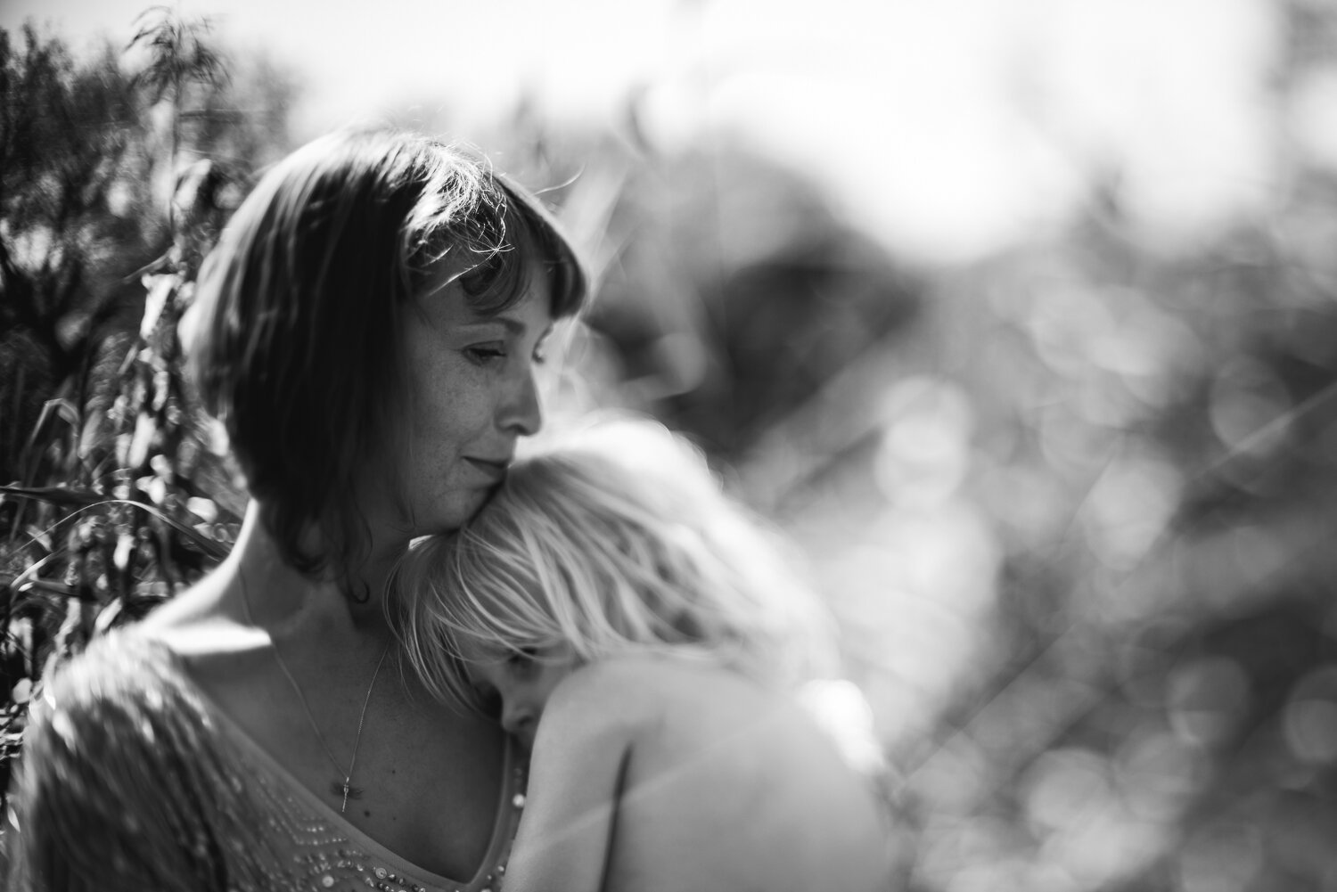 Freelensed portrait of a mother and her son