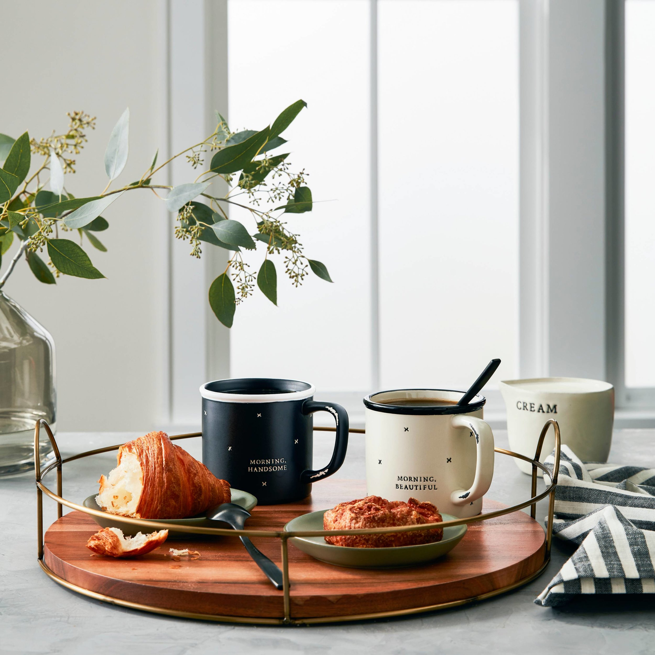 Good morning beautiful and handsome stoneware mugs