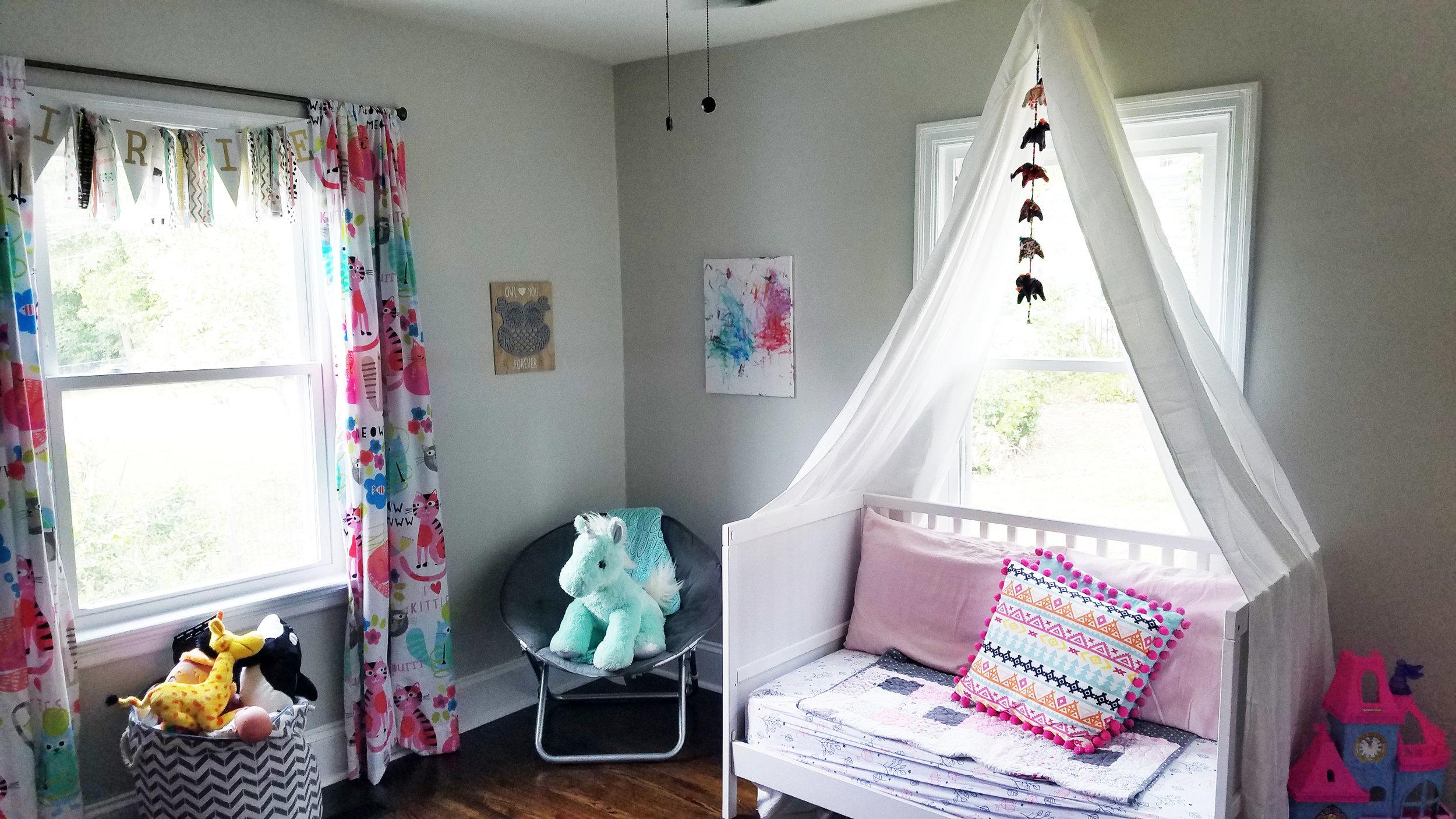 Haymount Homes Historical Fayetteville House NC Glenville Ave Bedroom 1 Boho girls room