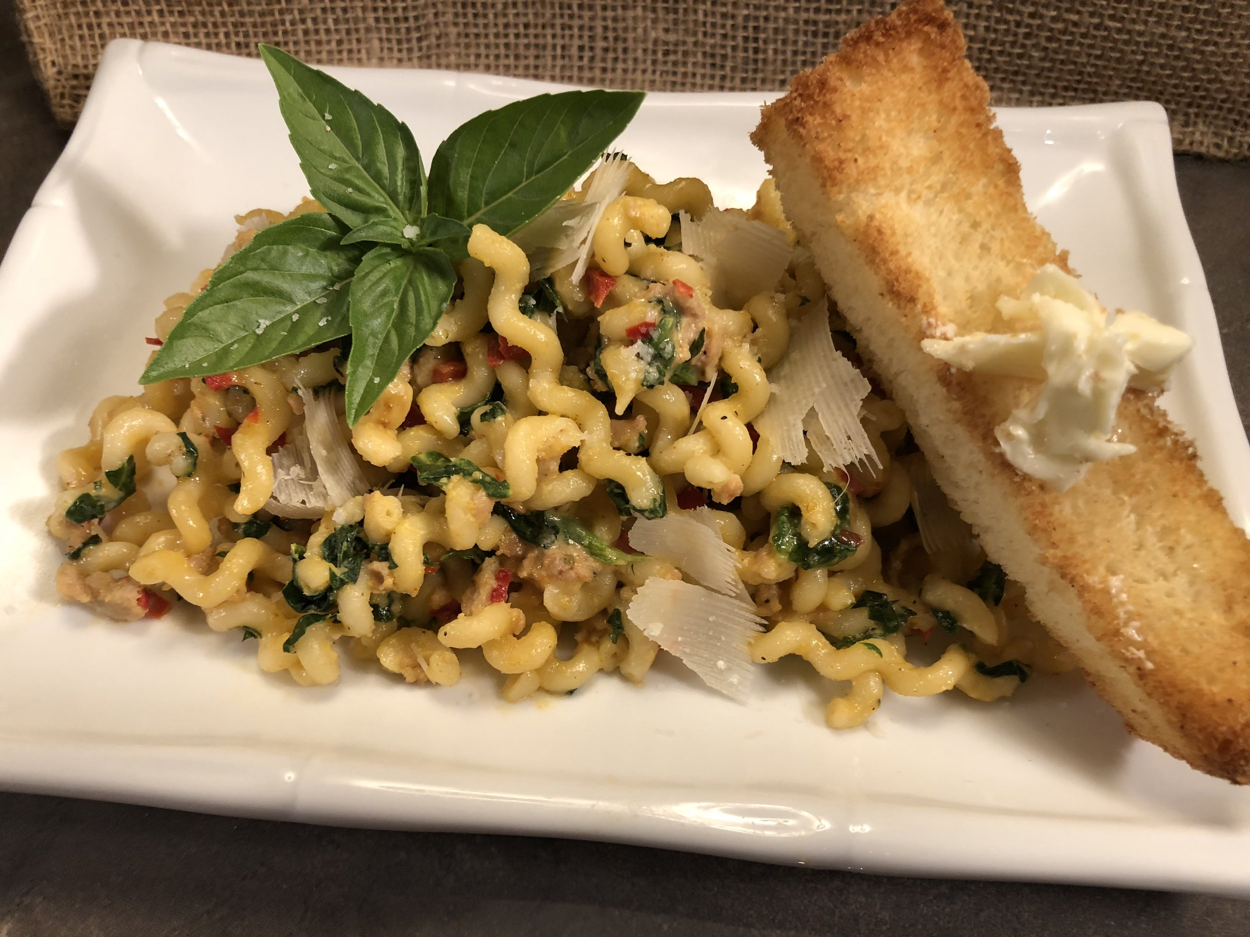 Pasta with Bechamel,Spinach and Italian Sausage