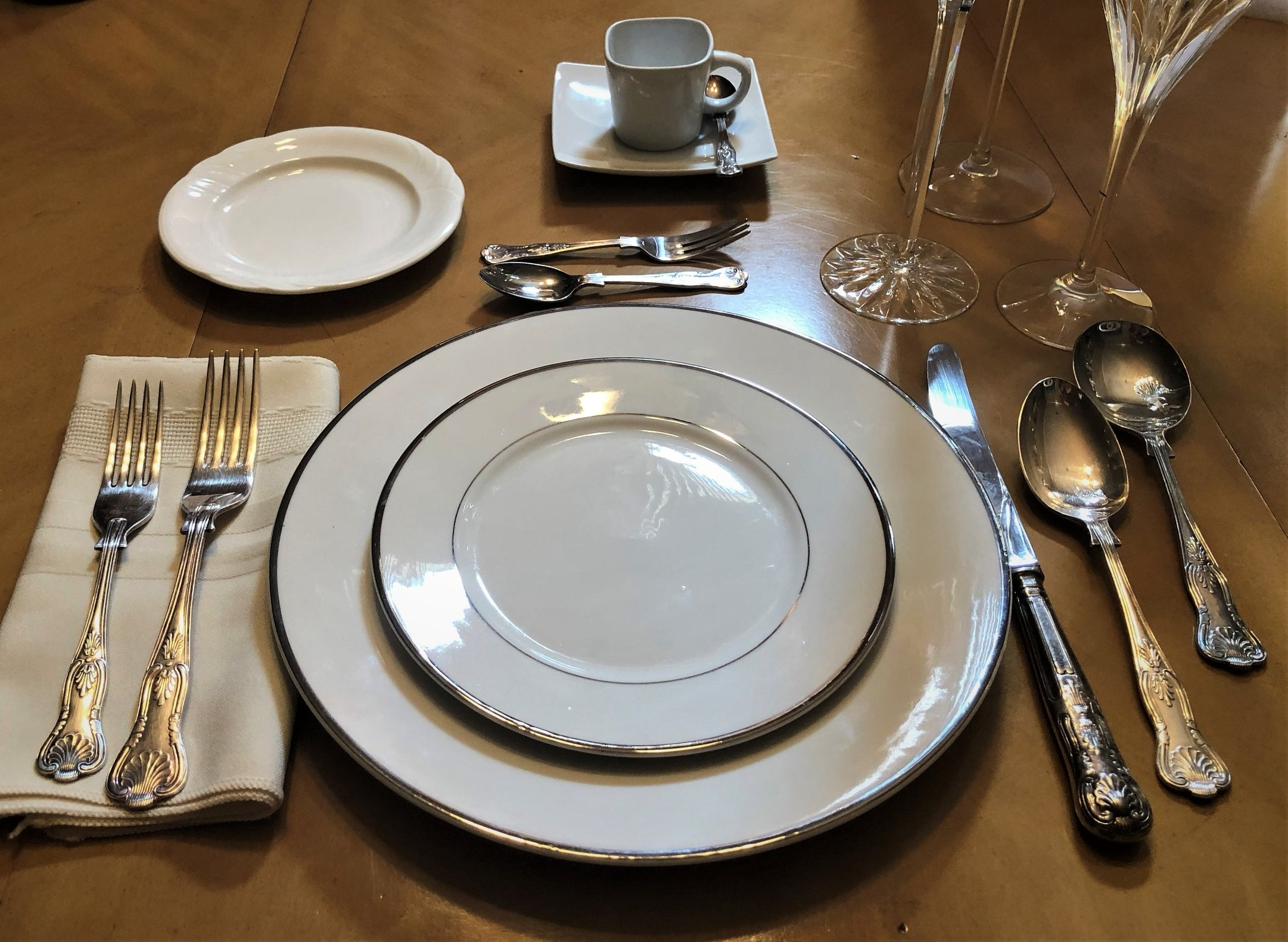 Silver Rimmed China Place Setting