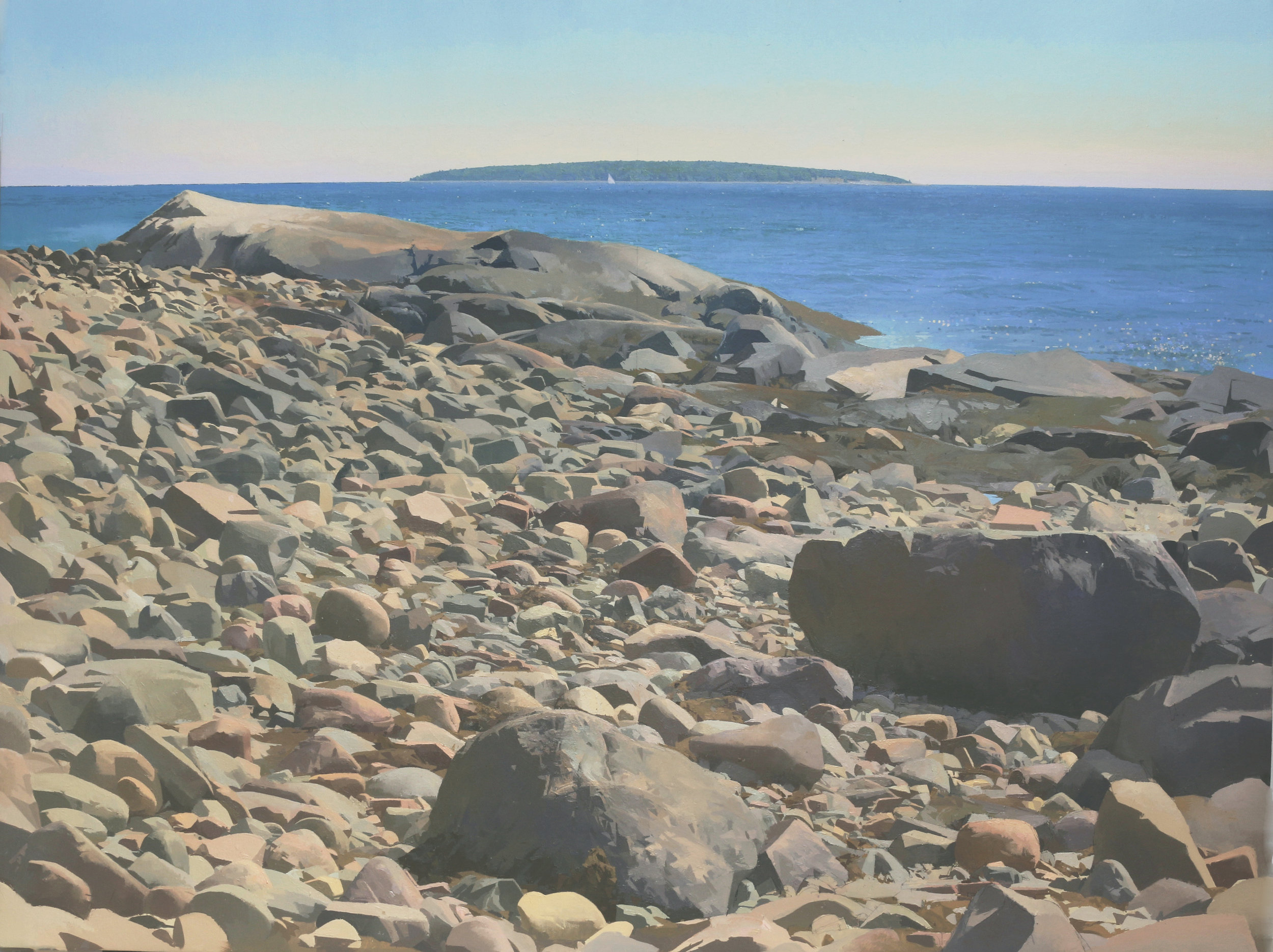 PAINTING BY CHRISTOPHER S. TIETJEN, ACADIA ROCK BEACH, 2014-17, OIL ON LINEN, 3 X 4 FT