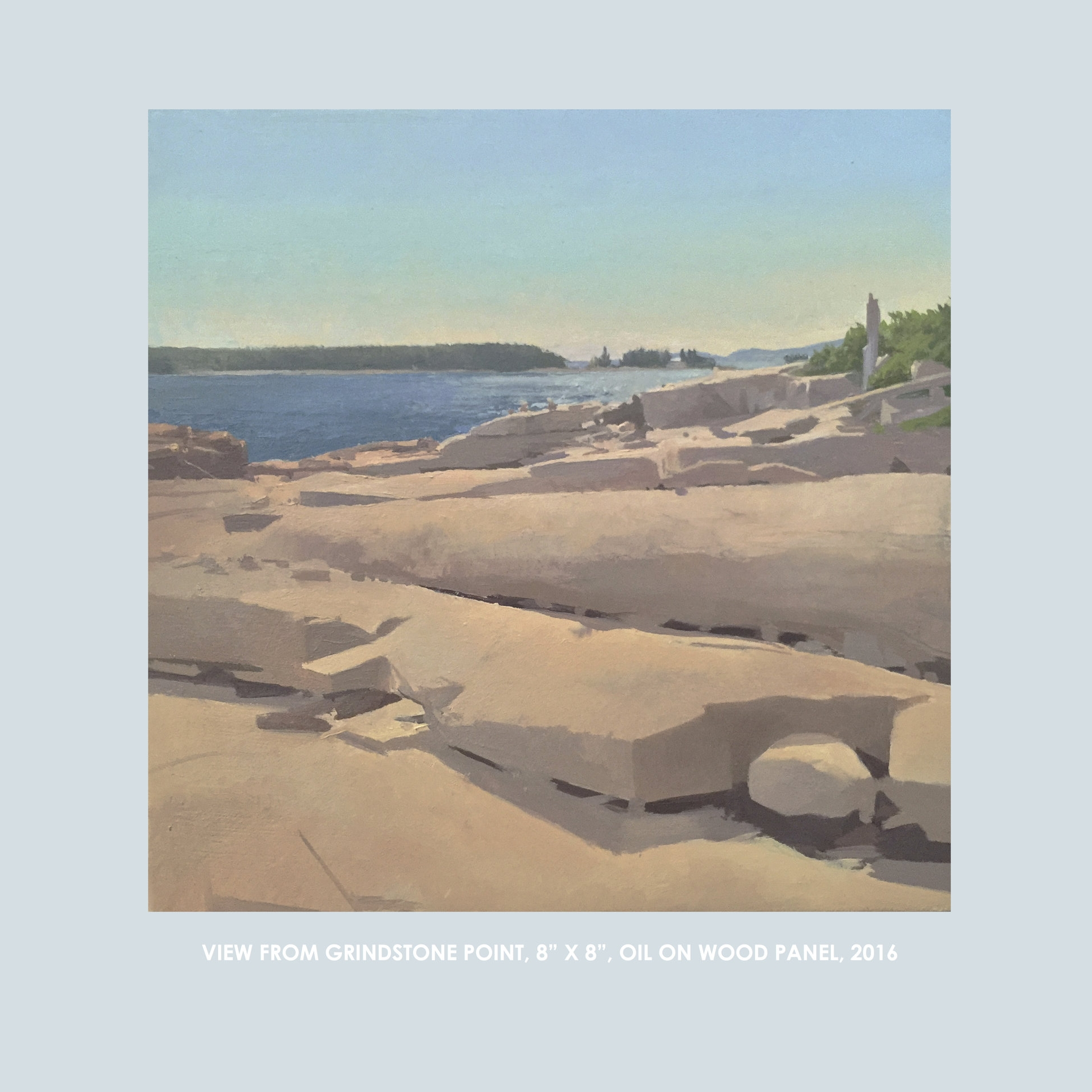 """Copy of Christopher S. Tietjen painting: View from Gindstone Point, 8x8"""", Oil on Wood Panel, 2016"""