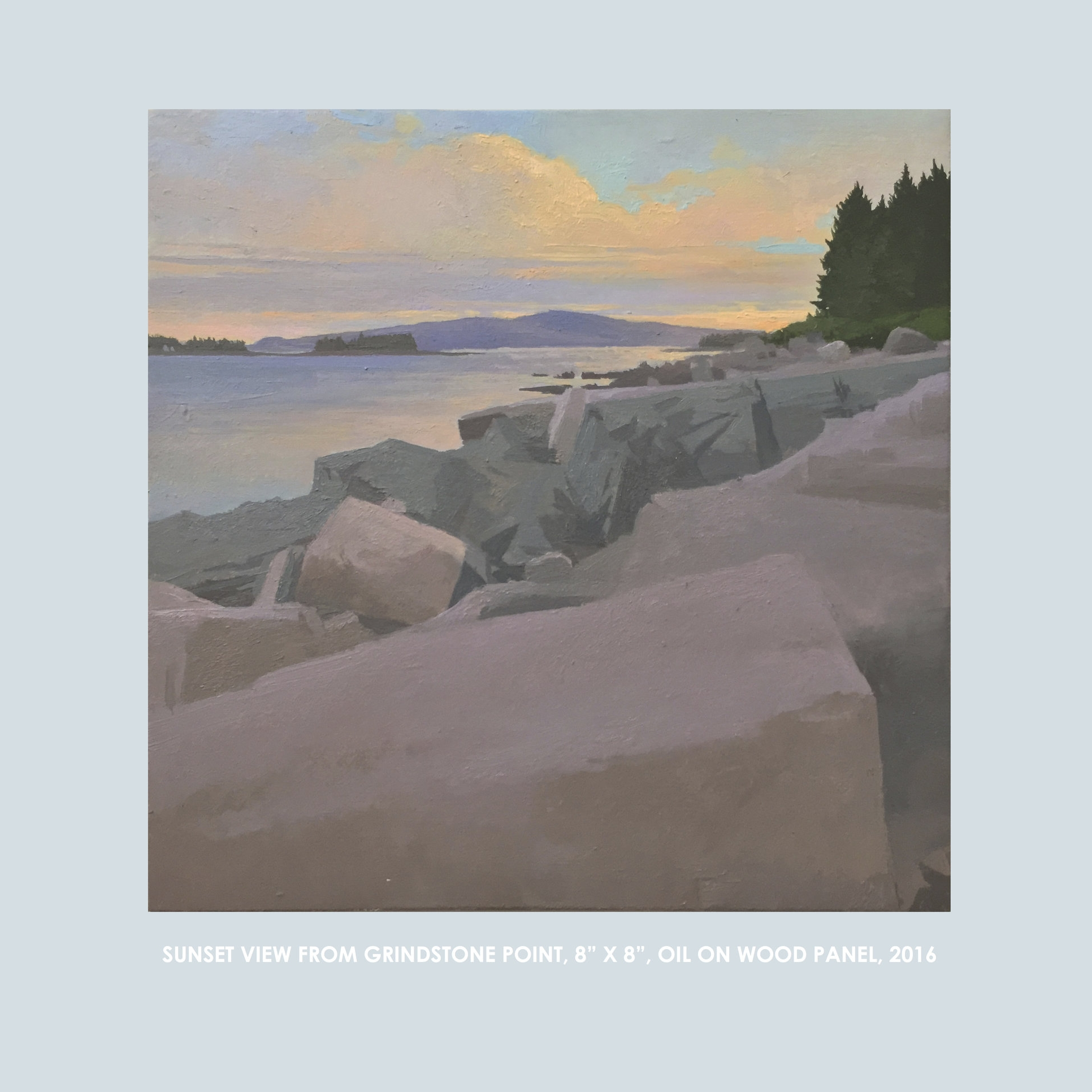 """Copy of Christopher S. Tietjen painting: SunsetView from Gindstone Point, 8x8"""", Oil on Wood Panel, 2016"""